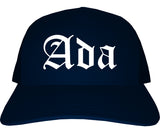 Ada Oklahoma OK Old English Mens Trucker Hat Cap Navy Blue