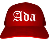 Ada Oklahoma OK Old English Mens Trucker Hat Cap Red