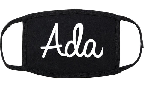 Ada Oklahoma OK Script Cotton Face Mask Black