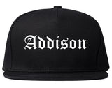 Addison Illinois IL Old English Mens Snapback Hat Black