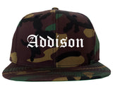 Addison Illinois IL Old English Mens Snapback Hat Army Camo
