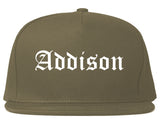 Addison Illinois IL Old English Mens Snapback Hat Grey