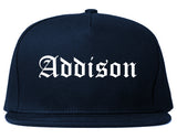 Addison Illinois IL Old English Mens Snapback Hat Navy Blue