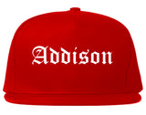 Addison Illinois IL Old English Mens Snapback Hat Red