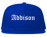 Addison Illinois IL Old English Mens Snapback Hat Royal Blue