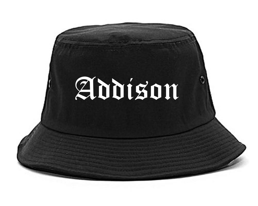 Addison Illinois IL Old English Mens Bucket Hat Black