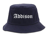 Addison Illinois IL Old English Mens Bucket Hat Navy Blue