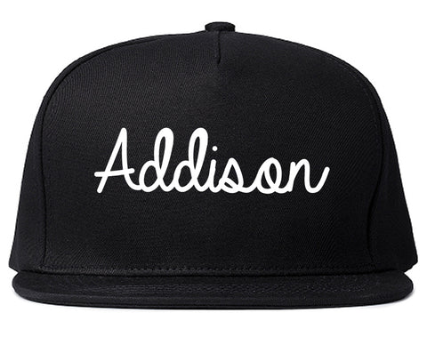 Addison Illinois IL Script Mens Snapback Hat Black