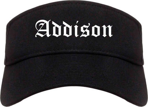 Addison Illinois IL Old English Mens Visor Cap Hat Black