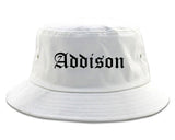 Addison Illinois IL Old English Mens Bucket Hat White