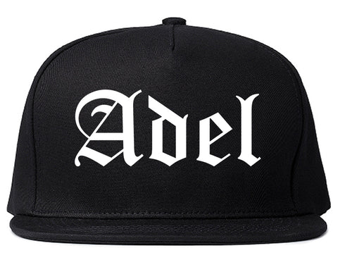 Adel Iowa IA Old English Mens Snapback Hat Black