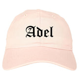 Adel Iowa IA Old English Mens Dad Hat Baseball Cap Pink