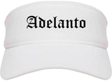 Adelanto California CA Old English Mens Visor Cap Hat White