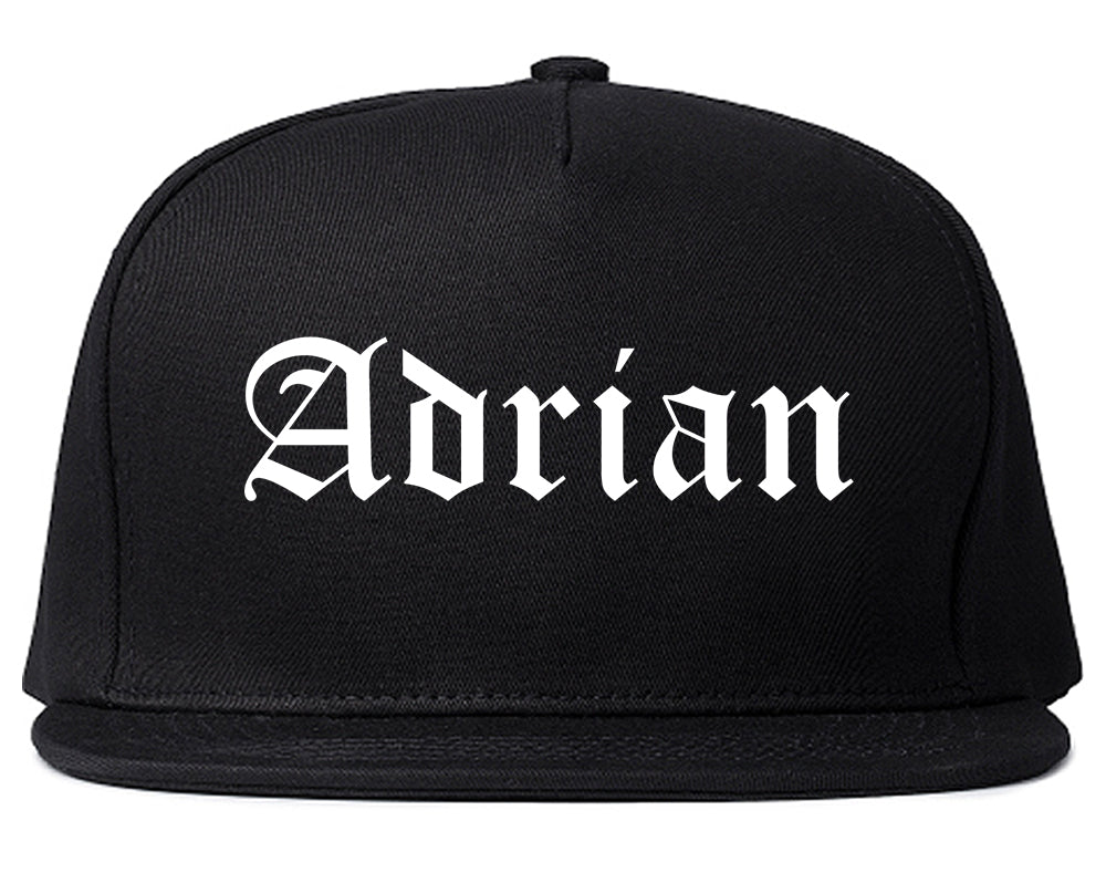 Adrian Michigan MI Old English Mens Snapback Hat Black