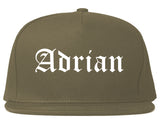 Adrian Michigan MI Old English Mens Snapback Hat Grey