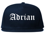 Adrian Michigan MI Old English Mens Snapback Hat Navy Blue