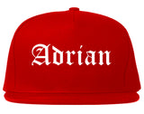 Adrian Michigan MI Old English Mens Snapback Hat Red