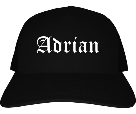 Adrian Michigan MI Old English Mens Trucker Hat Cap Black