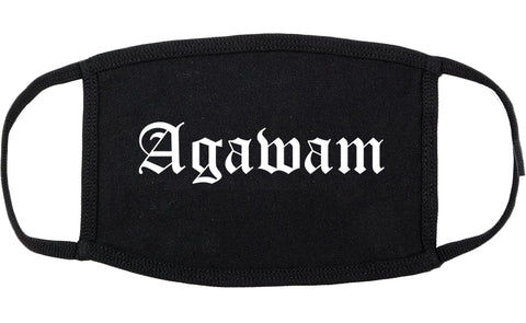 Agawam Massachusetts MA Old English Cotton Face Mask Black