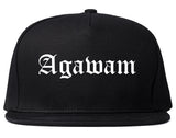 Agawam Massachusetts MA Old English Mens Snapback Hat Black