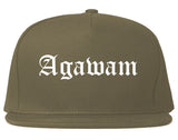 Agawam Massachusetts MA Old English Mens Snapback Hat Grey