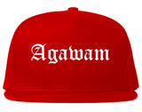Agawam Massachusetts MA Old English Mens Snapback Hat Red
