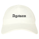 Agawam Massachusetts MA Old English Mens Dad Hat Baseball Cap White