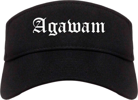 Agawam Massachusetts MA Old English Mens Visor Cap Hat Black