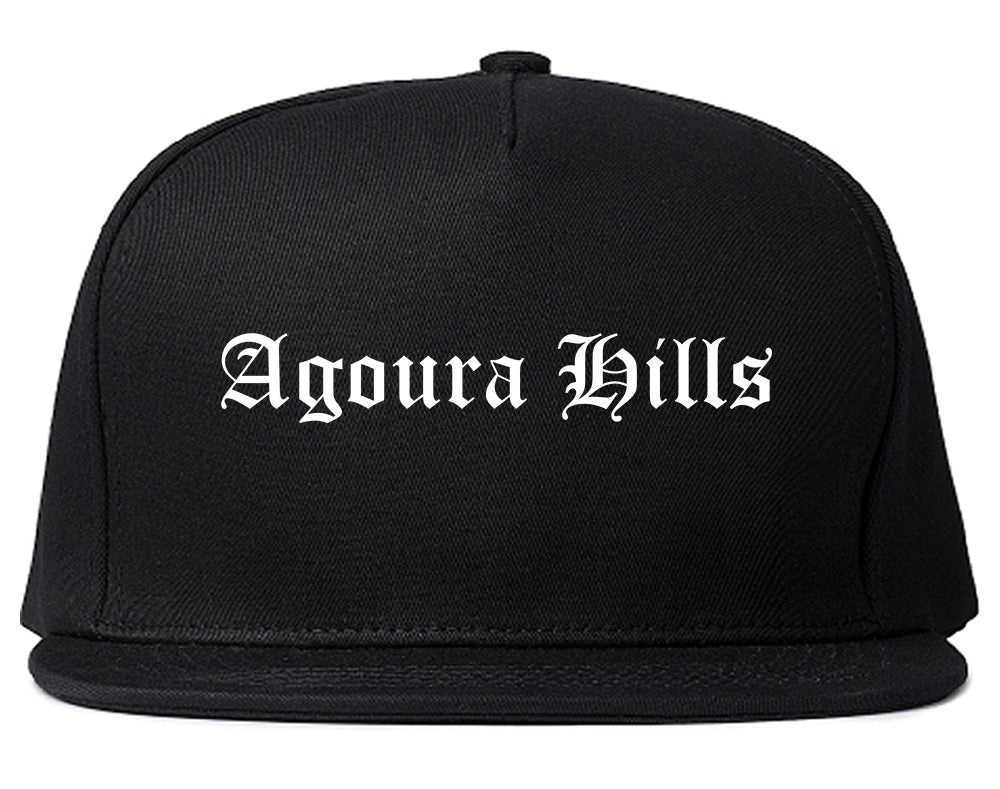 Agoura Hills California CA Old English Mens Snapback Hat Black