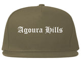 Agoura Hills California CA Old English Mens Snapback Hat Grey