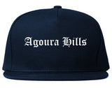 Agoura Hills California CA Old English Mens Snapback Hat Navy Blue
