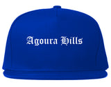 Agoura Hills California CA Old English Mens Snapback Hat Royal Blue