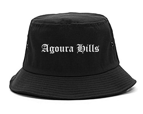 Agoura Hills California CA Old English Mens Bucket Hat Black