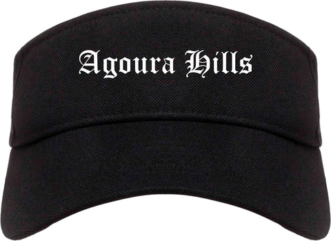 Agoura Hills California CA Old English Mens Visor Cap Hat Black