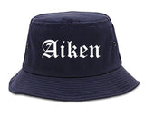 Aiken South Carolina SC Old English Mens Bucket Hat Navy Blue