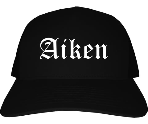 Aiken South Carolina SC Old English Mens Trucker Hat Cap Black