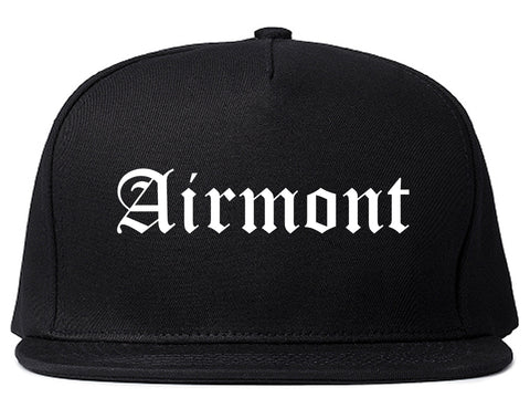 Airmont New York NY Old English Mens Snapback Hat Black