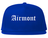 Airmont New York NY Old English Mens Snapback Hat Royal Blue