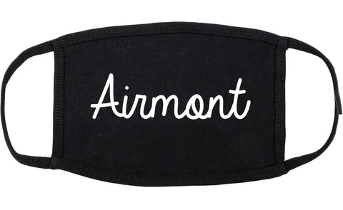 Airmont New York NY Script Cotton Face Mask Black