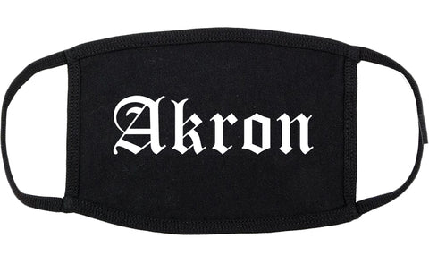 Akron Ohio OH Old English Cotton Face Mask Black