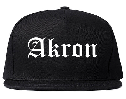 Akron Ohio OH Old English Mens Snapback Hat Black