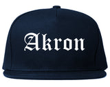 Akron Ohio OH Old English Mens Snapback Hat Navy Blue