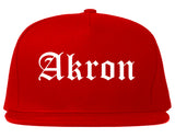 Akron Ohio OH Old English Mens Snapback Hat Red