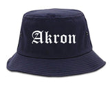 Akron Ohio OH Old English Mens Bucket Hat Navy Blue