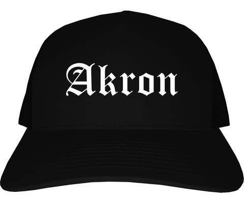 Akron Ohio OH Old English Mens Trucker Hat Cap Black