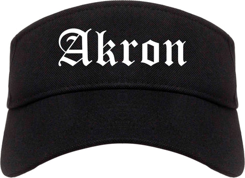 Akron Ohio OH Old English Mens Visor Cap Hat Black