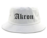 Akron Ohio OH Old English Mens Bucket Hat White