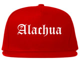 Alachua Florida FL Old English Mens Snapback Hat Red