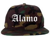 Alamo Texas TX Old English Mens Snapback Hat Army Camo