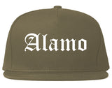 Alamo Texas TX Old English Mens Snapback Hat Grey